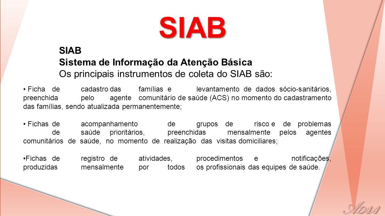 SIAB SIAB Sistema de Informação da Atenção Básica Os principais instrumentos de coleta do SIAB são: • Fichadecadastrodasfamíliaselevantamento de dados