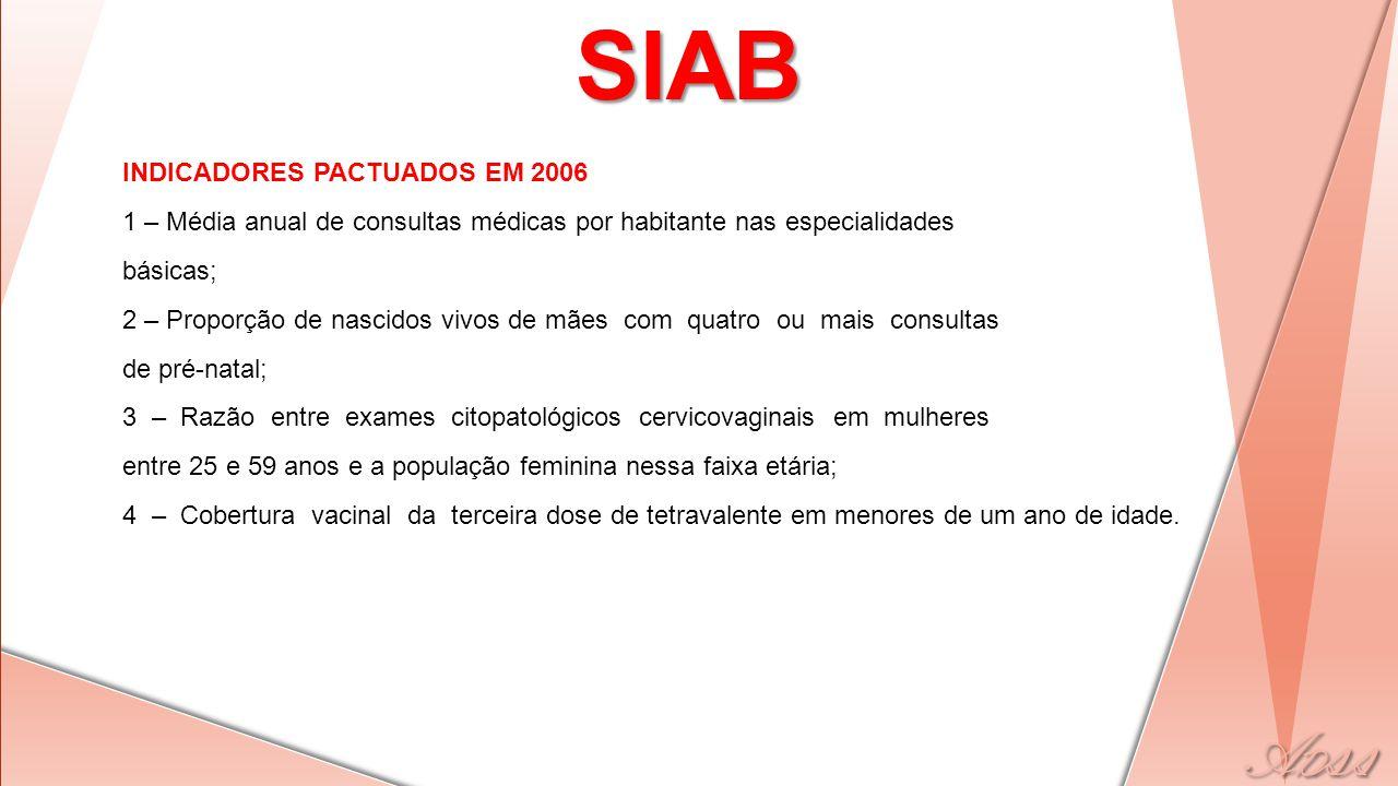 INDICADORES PACTUADOS EM 2006 1 – Média anual de consultas médicas por habitante nas especialidades básicas; 2 – Proporção de nascidos vivos de mães c