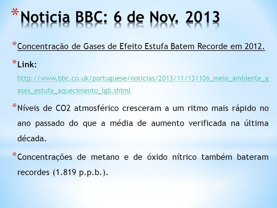 * Concentração de Gases de Efeito Estufa Batem Recorde em 2012. * Link: http://www.bbc.co.uk/portuguese/noticias/2013/11/131106_meio_ambiente_g ases_e