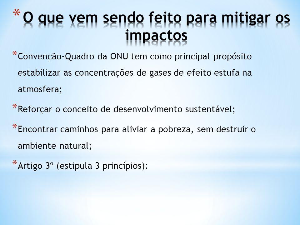 * Convenção-Quadro da ONU tem como principal propósito estabilizar as concentrações de gases de efeito estufa na atmosfera; * Reforçar o conceito de d