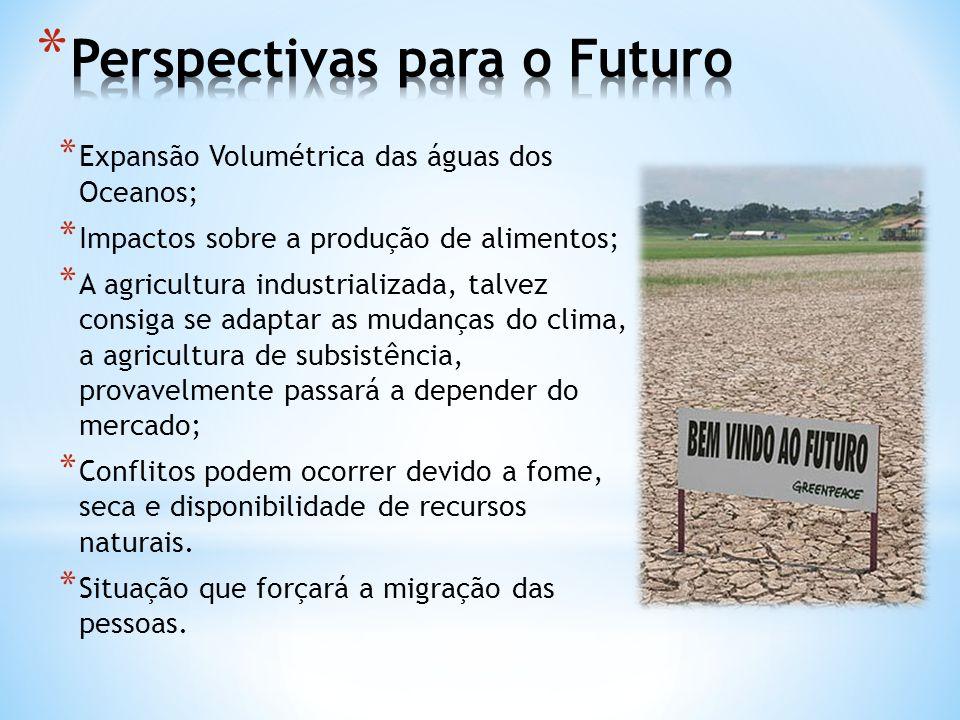 * Expansão Volumétrica das águas dos Oceanos; * Impactos sobre a produção de alimentos; * A agricultura industrializada, talvez consiga se adaptar as