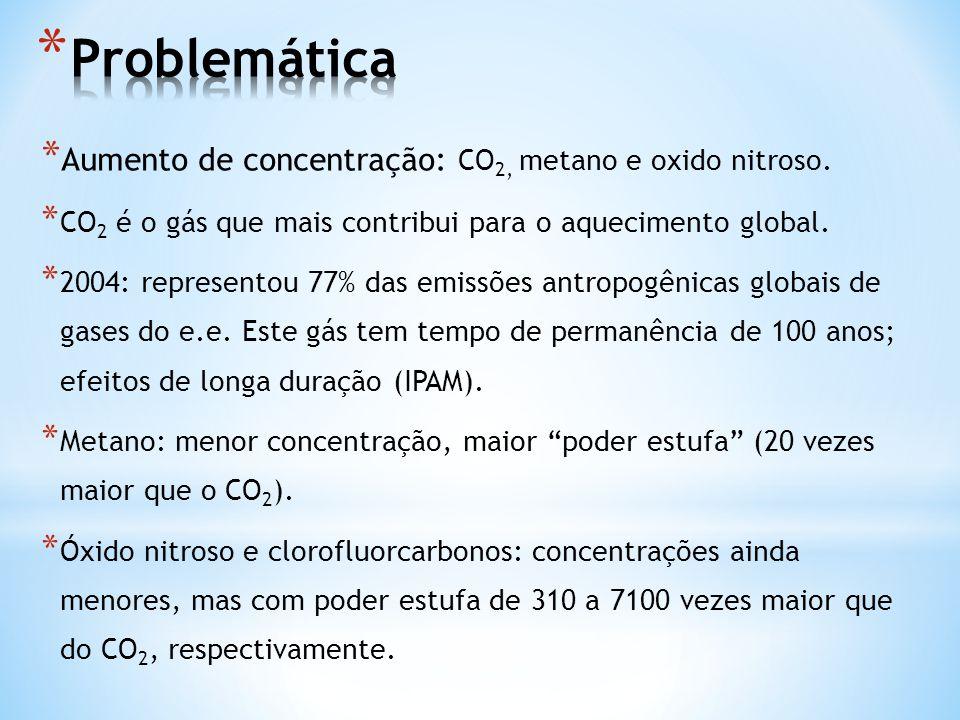 * Aumento de concentração: CO 2, metano e oxido nitroso. * CO 2 é o gás que mais contribui para o aquecimento global. * 2004: representou 77% das emis