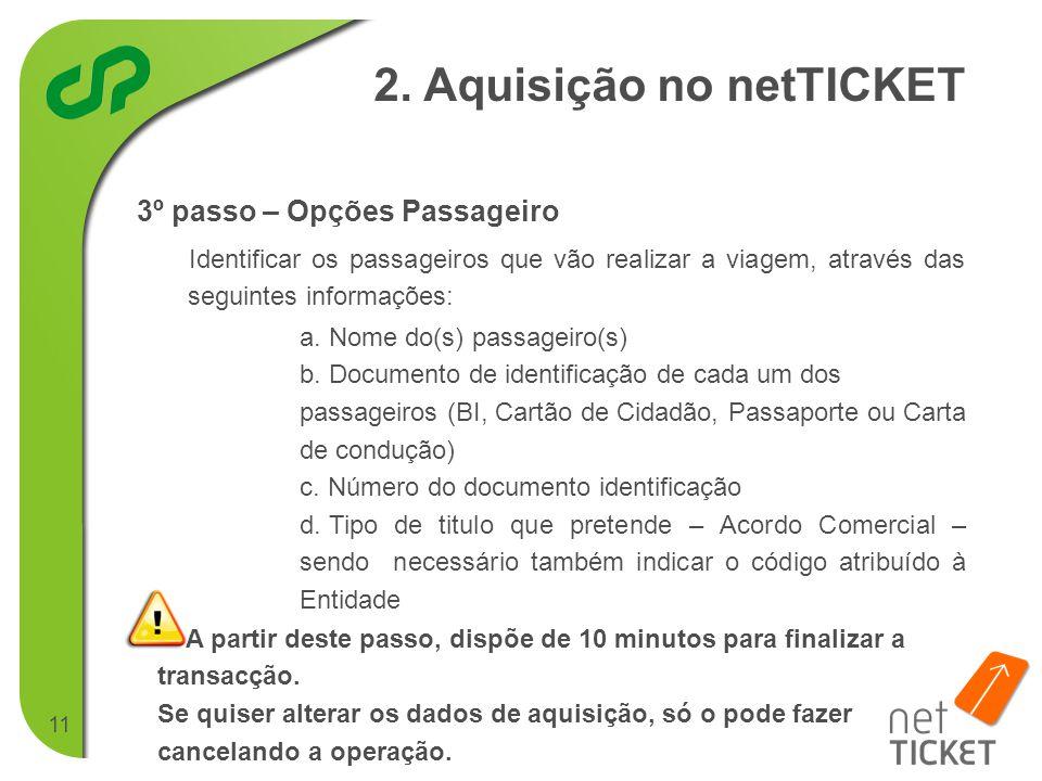 11 3º passo – Opções Passageiro 2.
