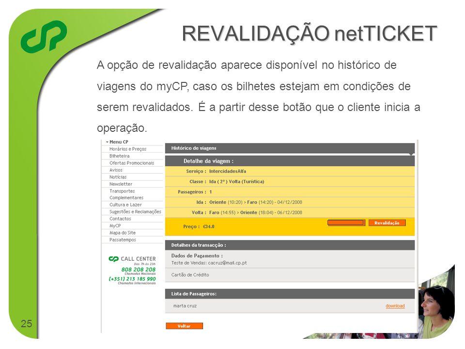 25 REVALIDAÇÃO netTICKET A opção de revalidação aparece disponível no histórico de viagens do myCP, caso os bilhetes estejam em condições de serem revalidados.
