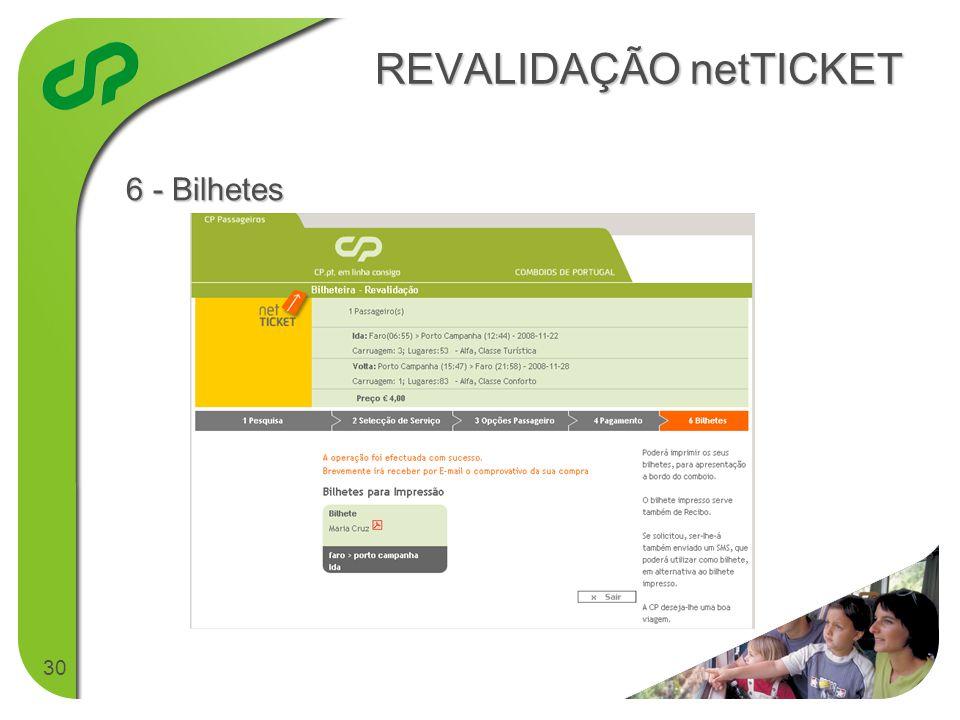30 REVALIDAÇÃO netTICKET 6 - Bilhetes