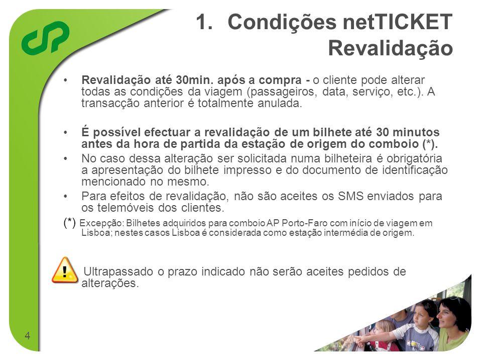 4 1.1.Condições netTICKET Revalidação • •Revalidação até 30min.
