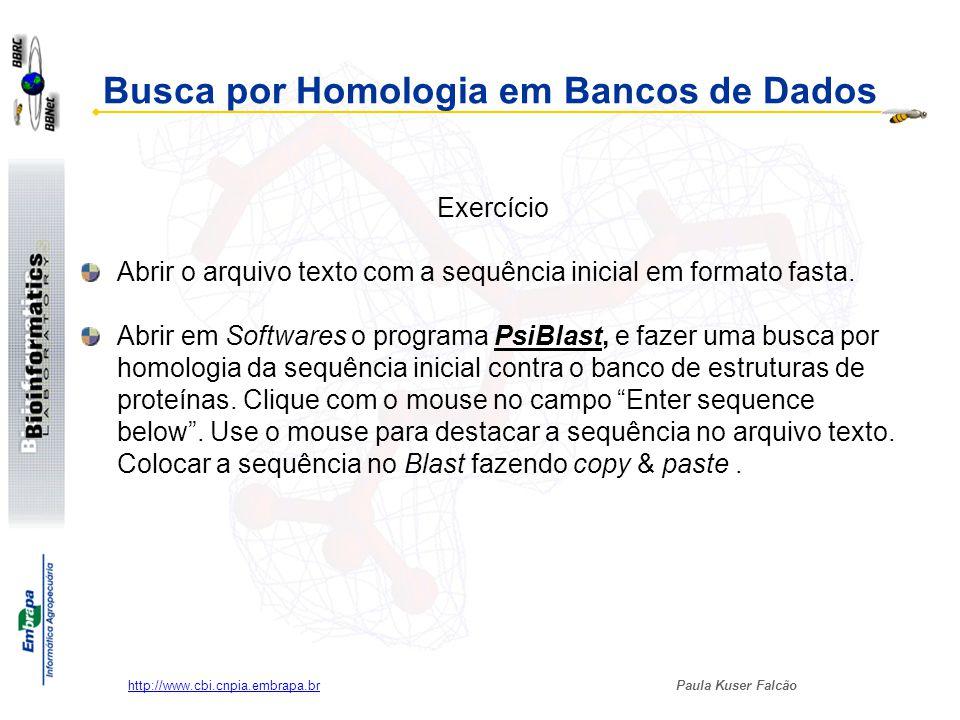 Paula Kuser Falcão http://www.cbi.cnpia.embrapa.br Busca por Homologia em Bancos de Dados Exercício Abrir o arquivo texto com a sequência inicial em f