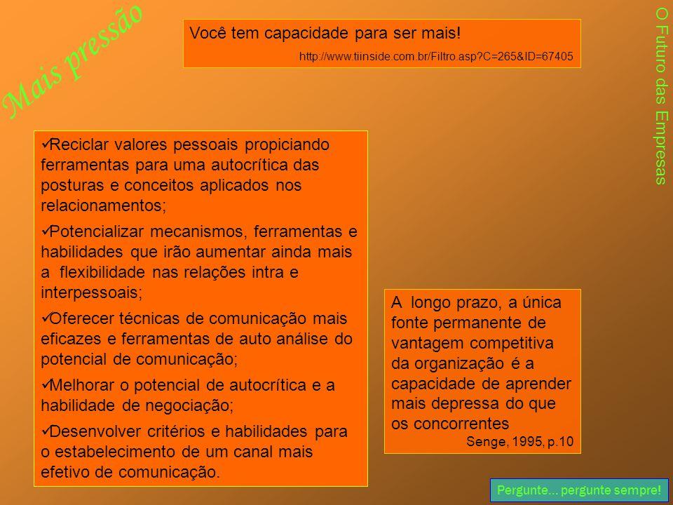 Pergunte... pergunte sempre! Você tem capacidade para ser mais! http://www.tiinside.com.br/Filtro.asp?C=265&ID=67405  Reciclar valores pessoais propi