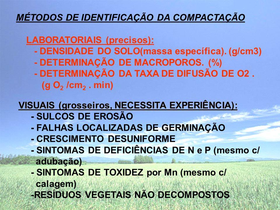 VISUAIS (grosseiros, NECESSITA EXPERIÊNCIA): - SULCOS DE EROSÃO - FALHAS LOCALIZADAS DE GERMINAÇÃO - CRESCIMENTO DESUNIFORME - SINTOMAS DE DEFICIÊNCIAS DE N e P (mesmo c/ adubação) - SINTOMAS DE TOXIDEZ por Mn (mesmo c/ calagem) -RESÍDUOS VEGETAIS NÃO DECOMPOSTOS MÉTODOS DE IDENTIFICAÇÃO DA COMPACTAÇÃO LABORATORIAIS (precisos): - DENSIDADE DO SOLO(massa específica).