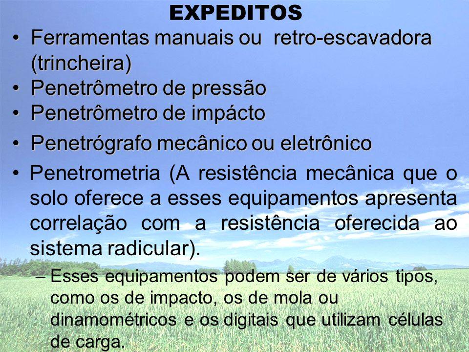 EXPEDITOS •Ferramentas manuais ou retro-escavadora (trincheira) •Penetrômetro de pressão •Penetrômetro de impácto •Penetrógrafo mecânico ou eletrônico