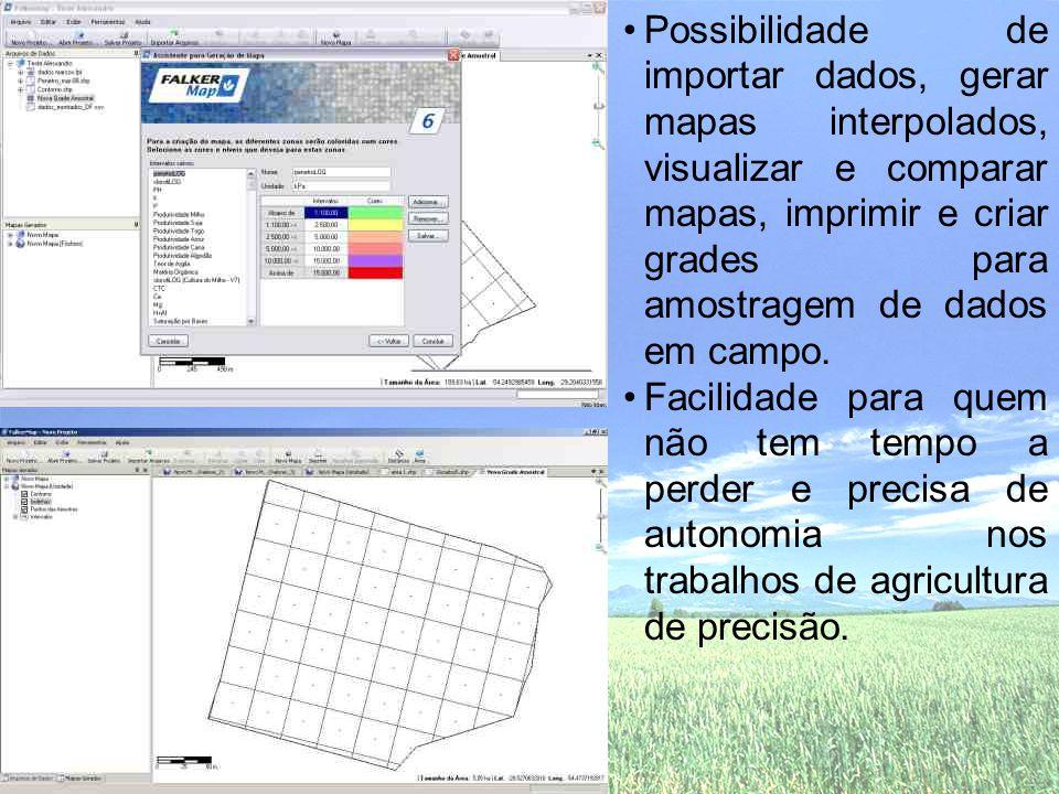 •Possibilidade de importar dados, gerar mapas interpolados, visualizar e comparar mapas, imprimir e criar grades para amostragem de dados em campo. •F