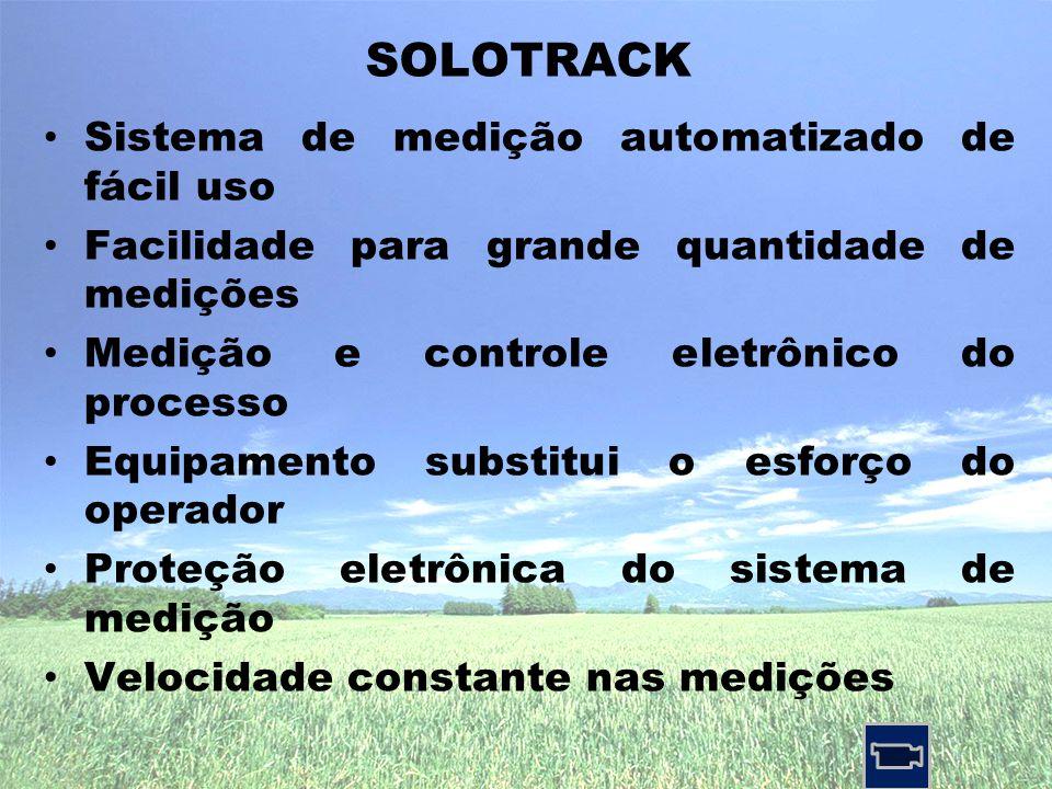 • Sistema de medição automatizado de fácil uso • Facilidade para grande quantidade de medições • Medição e controle eletrônico do processo • Equipamento substitui o esforço do operador • Proteção eletrônica do sistema de medição • Velocidade constante nas medições SOLOTRACK
