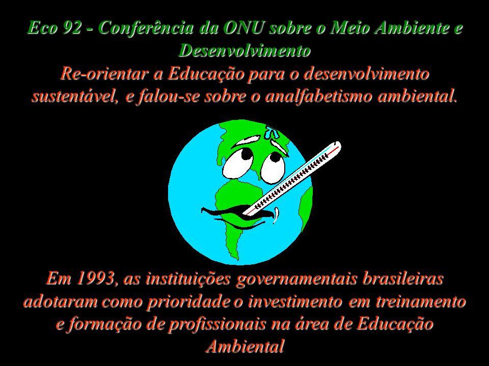 Eco 92 - Conferência da ONU sobre o Meio Ambiente e Desenvolvimento Re-orientar a Educação para o desenvolvimento sustentável, e falou-se sobre o analfabetismo ambiental.
