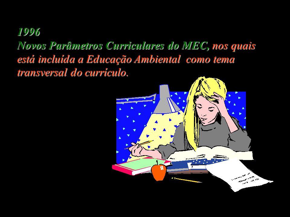 1996 Novos Parâmetros Curriculares do MEC, nos quais está incluída a Educação Ambiental como tema transversal do currículo.