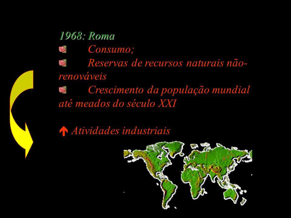1968: Roma Consumo; Reservas de recursos naturais não- renováveis Crescimento da população mundial até meados do século XXI  Atividades industriais nos países ricos