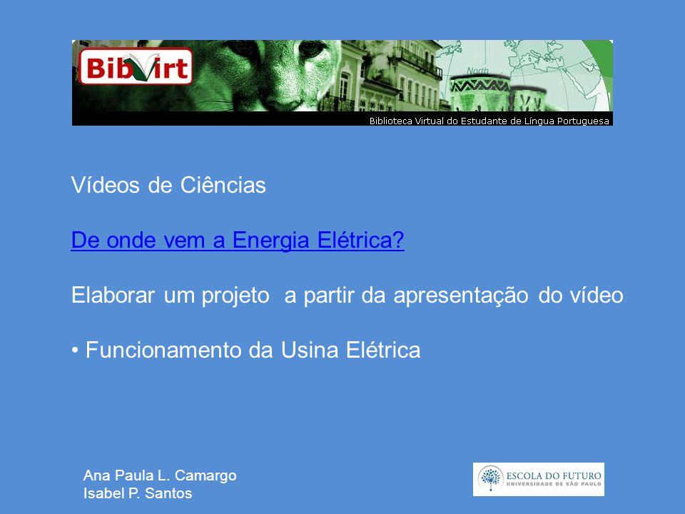 Ana Paula L. Camargo Isabel P. Santos Vídeos de Ciências De onde vem a Energia Elétrica.