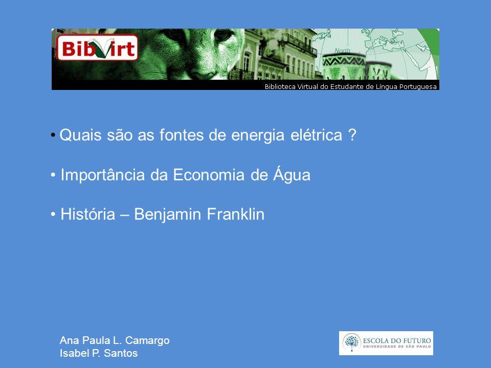 Ana Paula L. Camargo Isabel P. Santos • Quais são as fontes de energia elétrica .