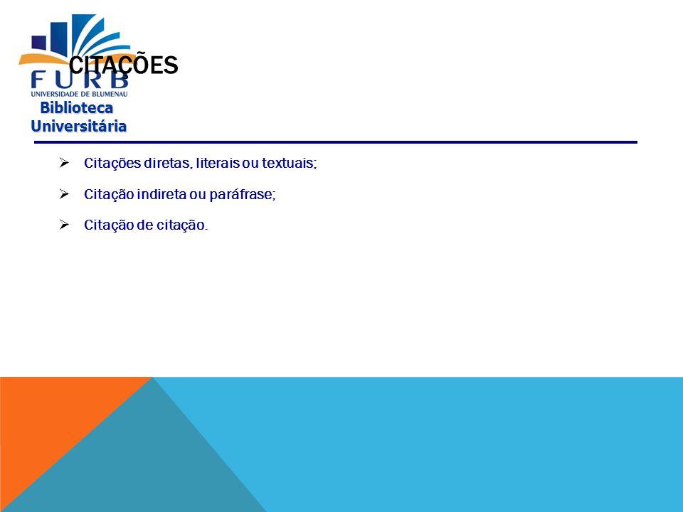 Biblioteca Universitária Universitária CITAÇÕES  Citação é a menção, feita no texto, de informações extraídas de outras fontes.