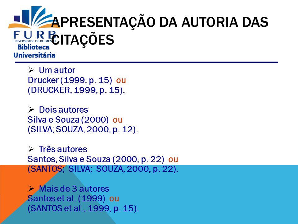 Biblioteca Universitária Universitária APRESENTAÇÃO DAS CITAÇÕES SISTEMA AUTOR-DATA No texto: De acordo com Oliveira e Leonardos (1943, p.
