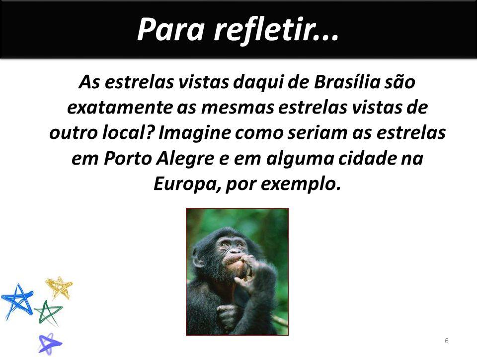 As estrelas vistas daqui de Brasília são exatamente as mesmas estrelas vistas de outro local.