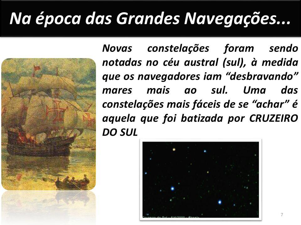 Novas constelações foram sendo notadas no céu austral (sul), à medida que os navegadores iam desbravando mares mais ao sul.