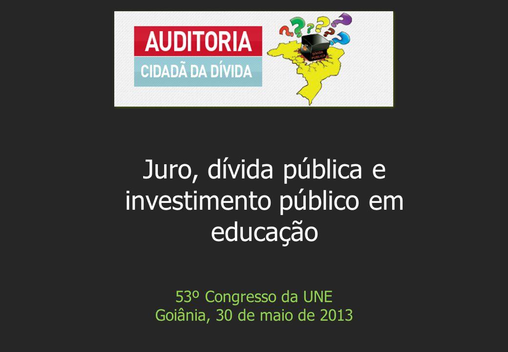 53º Congresso da UNE Goiânia, 30 de maio de 2013 Juro, dívida pública e investimento público em educação