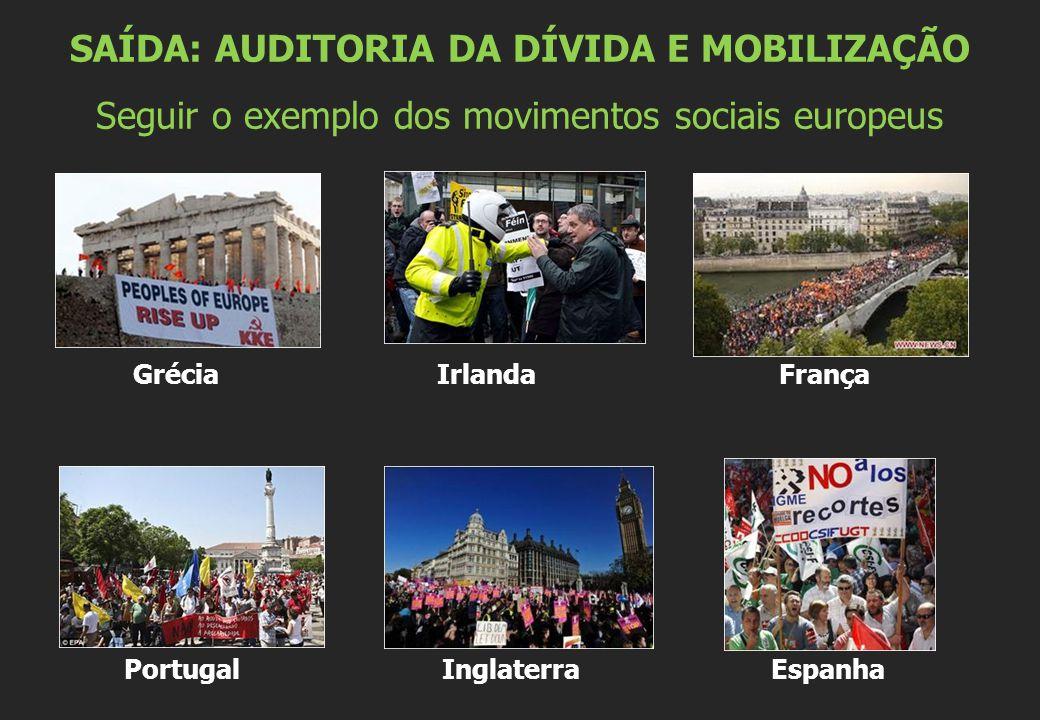 Grécia Irlanda França Portugal Inglaterra Espanha SAÍDA: AUDITORIA DA DÍVIDA E MOBILIZAÇÃO Seguir o exemplo dos movimentos sociais europeus