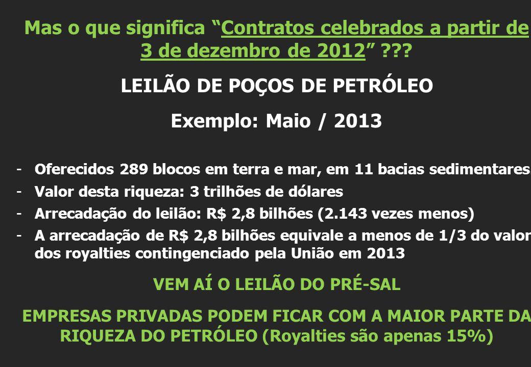 """Mas o que significa """"Contratos celebrados a partir de 3 de dezembro de 2012"""" ??? LEILÃO DE POÇOS DE PETRÓLEO Exemplo: Maio / 2013 -Oferecidos 289 bloc"""
