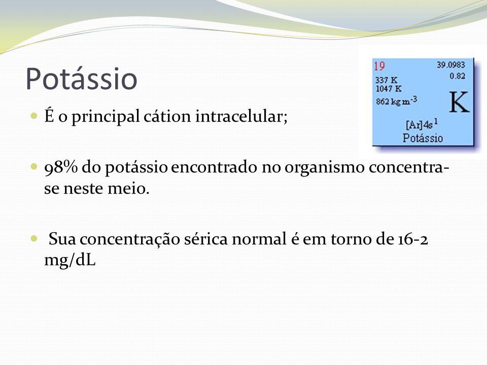 Potássio  É o principal cátion intracelular;  98% do potássio encontrado no organismo concentra- se neste meio.