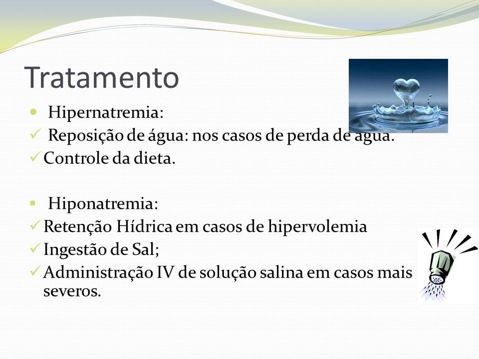 Tratamento  Hipernatremia:  Reposição de água: nos casos de perda de água.
