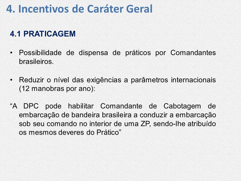 4.1 PRATICAGEM •Possibilidade de dispensa de práticos por Comandantes brasileiros. •Reduzir o nível das exigências a parâmetros internacionais (12 man