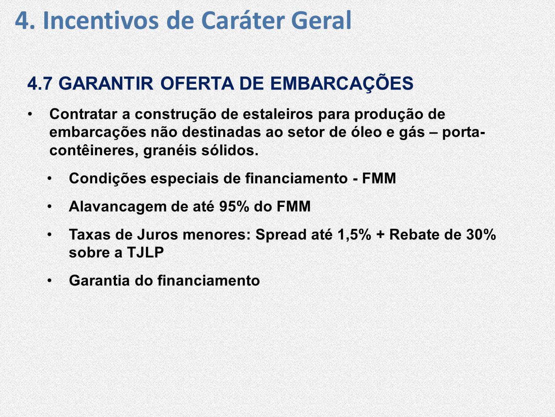 4. Incentivos de Caráter Geral 4.7 GARANTIR OFERTA DE EMBARCAÇÕES •Contratar a construção de estaleiros para produção de embarcações não destinadas ao