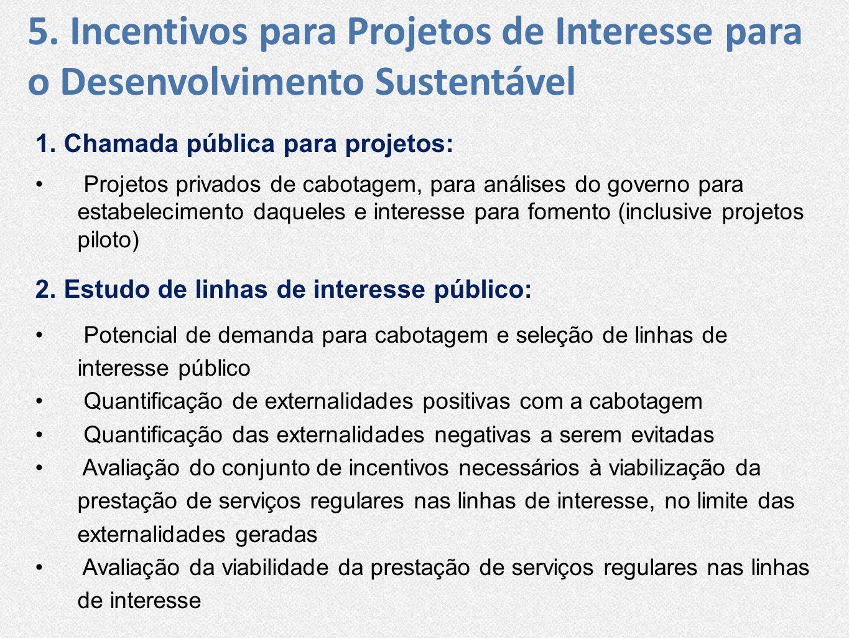 1. Chamada pública para projetos: • Projetos privados de cabotagem, para análises do governo para estabelecimento daqueles e interesse para fomento (i
