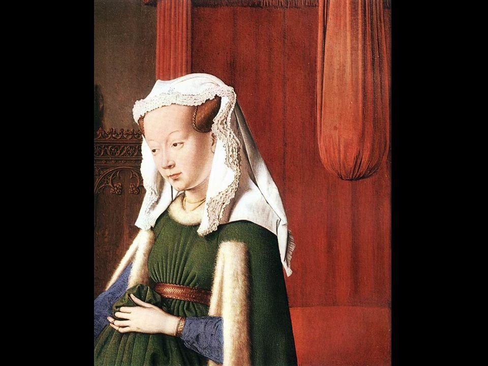 Assinatura do pintor e data (em latim) Espelho convexo que reflecte a cena e lhe dá uma enorme profundidade Candelabro de bronze dourado (num plano intermédio, entre o casal e a parede) Terço Johannes de Eyck fuit hic (Jan van Eyck esteve aqui) 1434