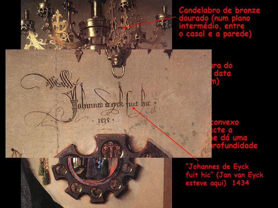 Assinatura do pintor e data (em latim) Espelho convexo que reflecte a cena e lhe dá uma enorme profundidade Candelabro de bronze dourado (num plano in