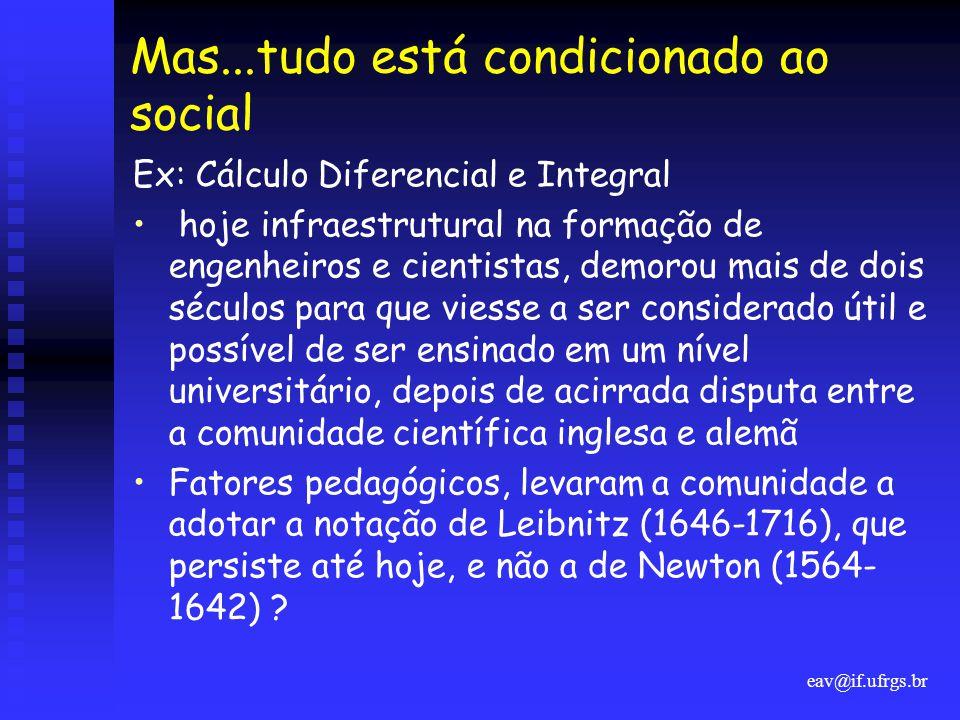 eav@if.ufrgs.br Mas...tudo está condicionado ao social Ex: Cálculo Diferencial e Integral • hoje infraestrutural na formação de engenheiros e cientist