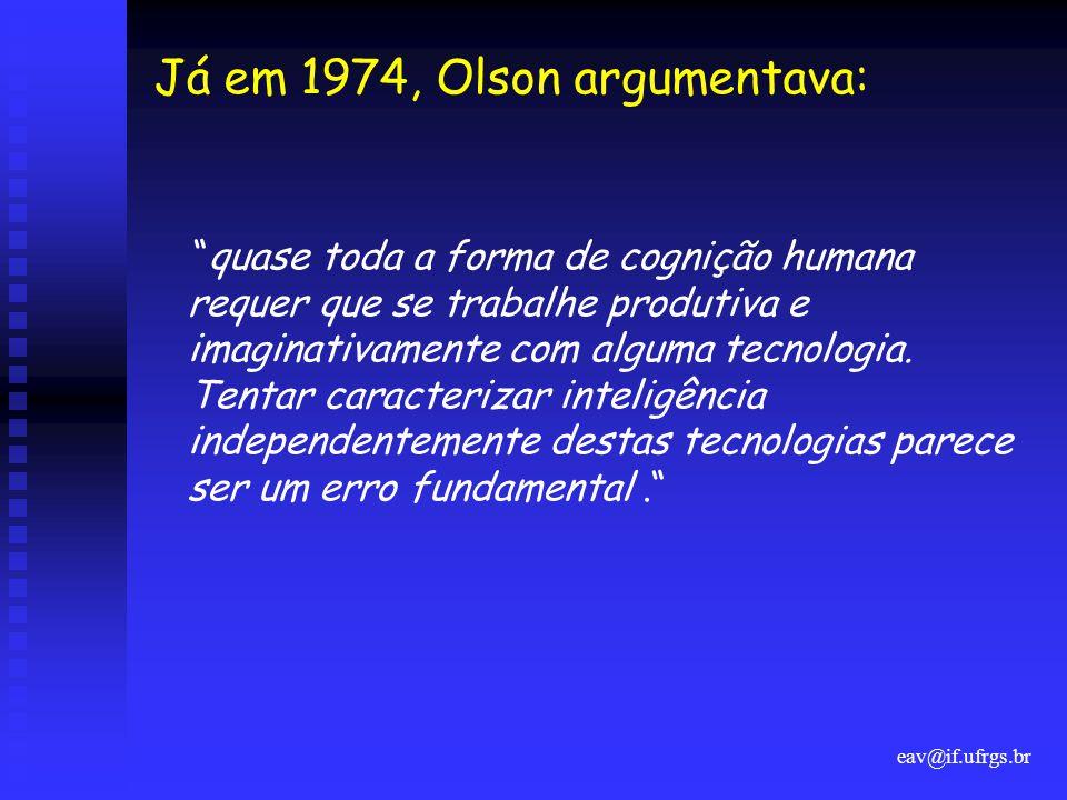 """eav@if.ufrgs.br Já em 1974, Olson argumentava: """"quase toda a forma de cognição humana requer que se trabalhe produtiva e imaginativamente com alguma t"""