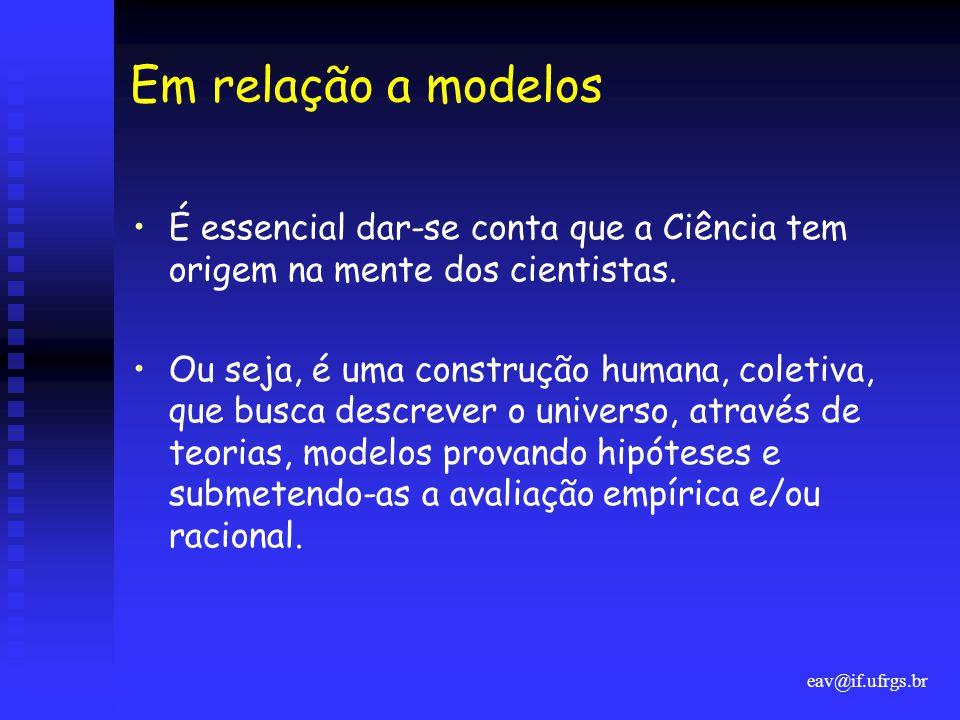 eav@if.ufrgs.br Em relação a modelos •É essencial dar-se conta que a Ciência tem origem na mente dos cientistas. •Ou seja, é uma construção humana, co