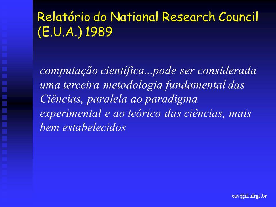 eav@if.ufrgs.br Relatório do National Research Council (E.U.A.) 1989 computação científica...pode ser considerada uma terceira metodologia fundamental das Ciências, paralela ao paradigma experimental e ao teórico das ciências, mais bem estabelecidos