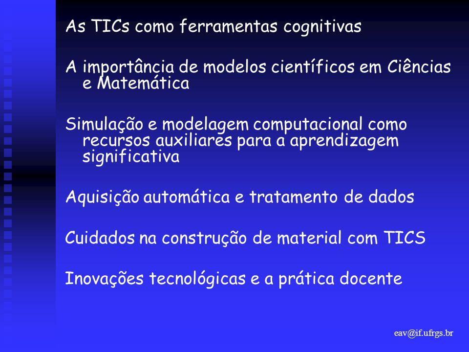 eav@if.ufrgs.br As TICs como ferramentas cognitivas A importância de modelos científicos em Ciências e Matemática Simulação e modelagem computacional