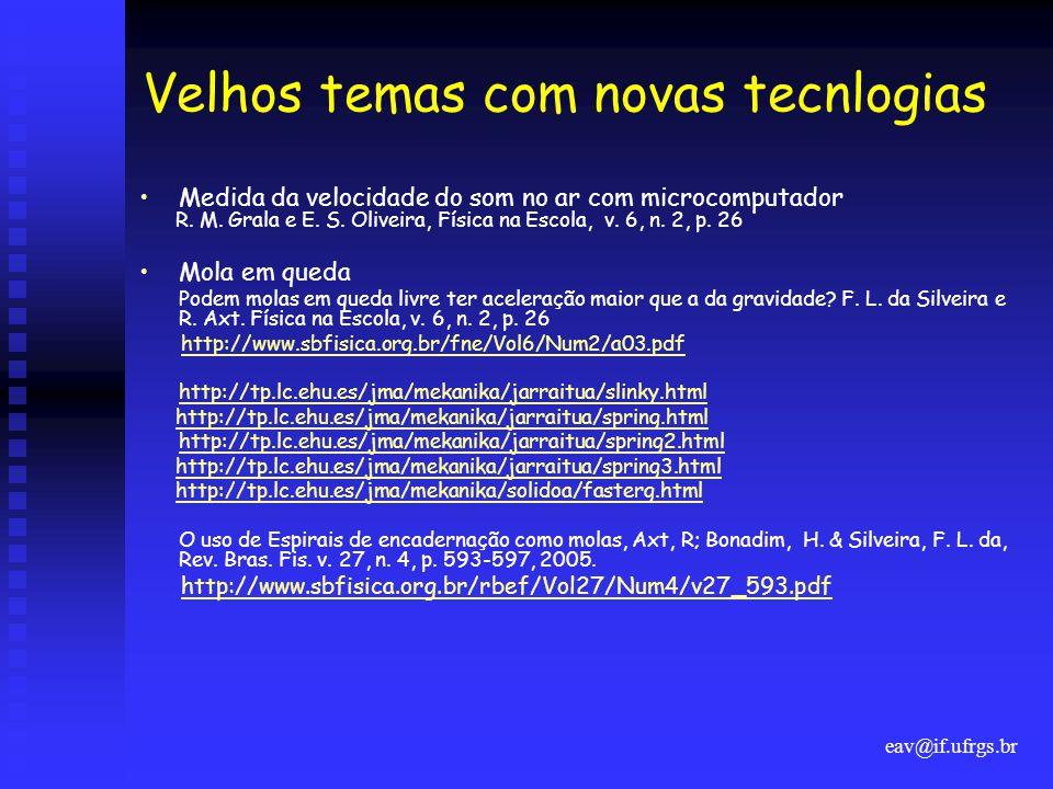eav@if.ufrgs.br Velhos temas com novas tecnlogias •Medida da velocidade do som no ar com microcomputador R. M. Grala e E. S. Oliveira, Física na Escol