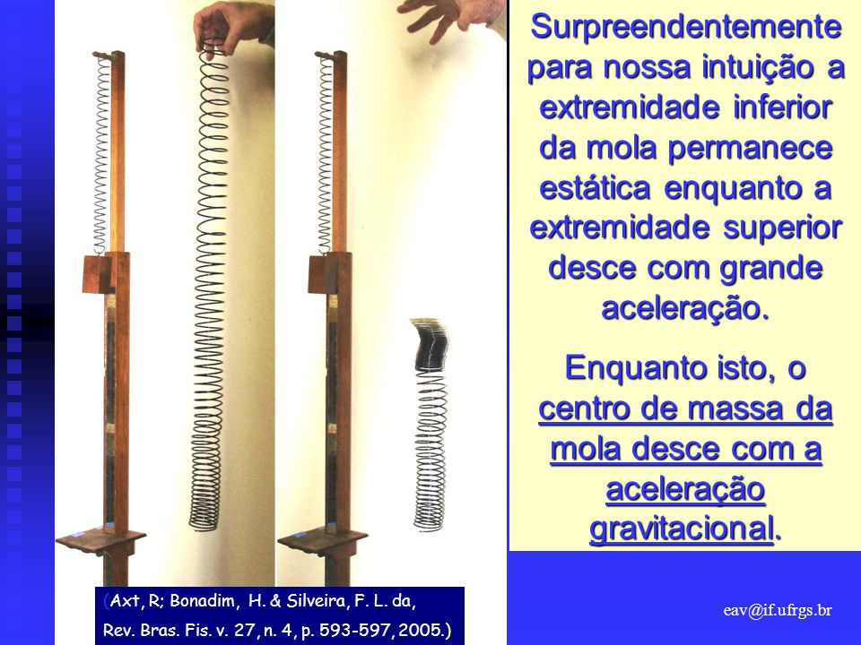 eav@if.ufrgs.br Surpreendentemente para nossa intuição a extremidade inferior da mola permanece estática enquanto a extremidade superior desce com grande aceleração.