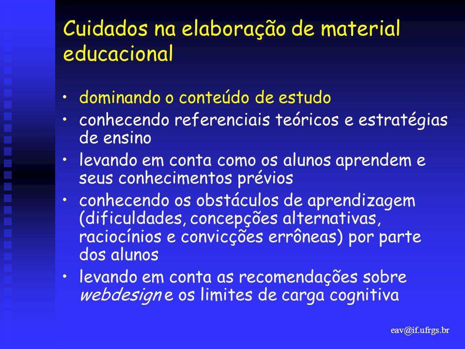 eav@if.ufrgs.br Cuidados na elaboração de material educacional •dominando o conteúdo de estudo •conhecendo referenciais teóricos e estratégias de ensi