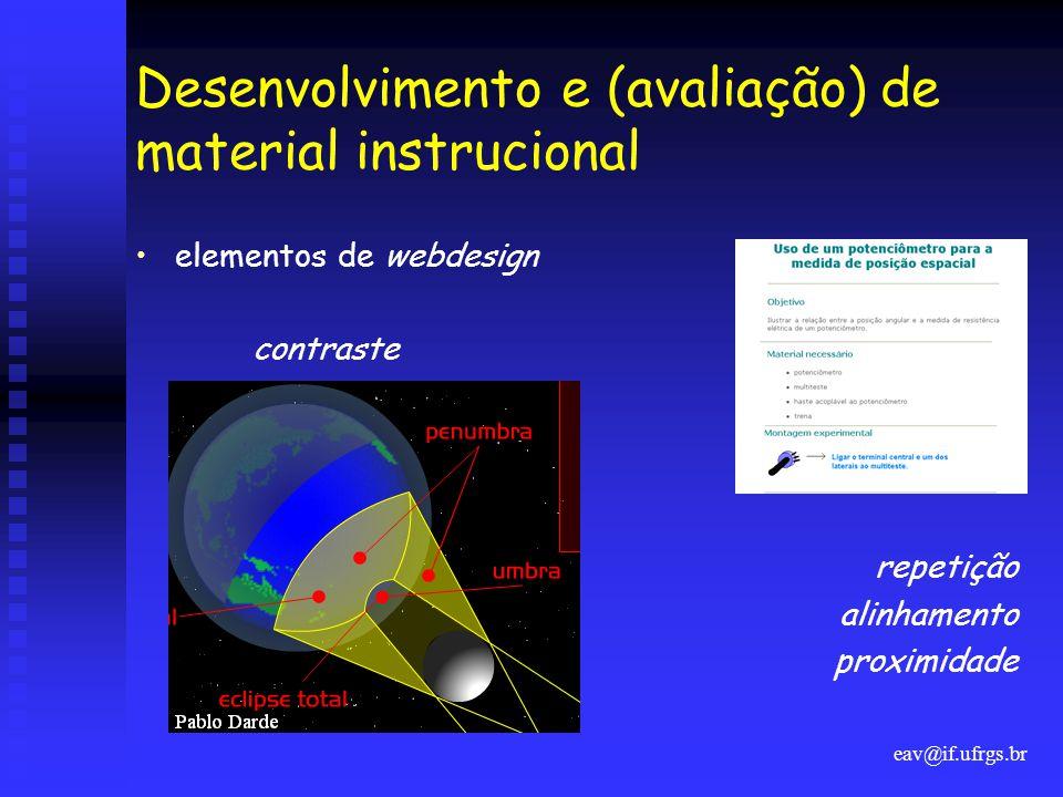 eav@if.ufrgs.br Desenvolvimento e (avaliação) de material instrucional •elementos de webdesign contraste repetição alinhamento proximidade