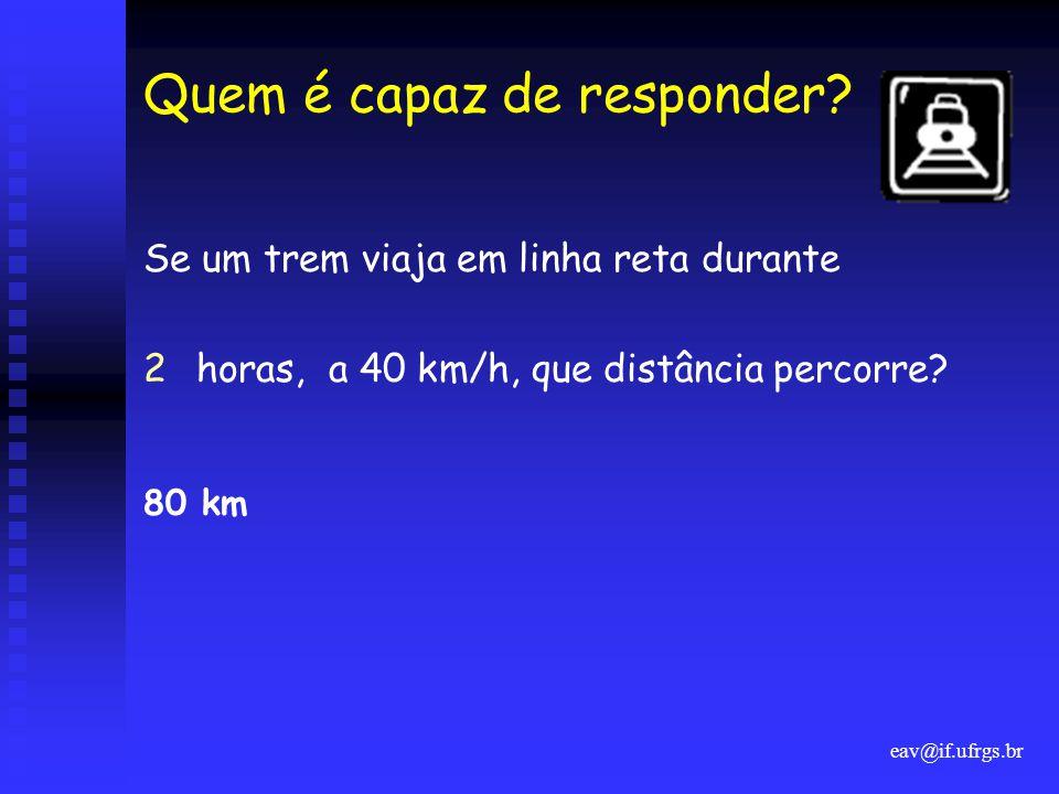 eav@if.ufrgs.br Quem é capaz de responder? Se um trem viaja em linha reta durante 2horas, a 40 km/h, que distância percorre? 80 km
