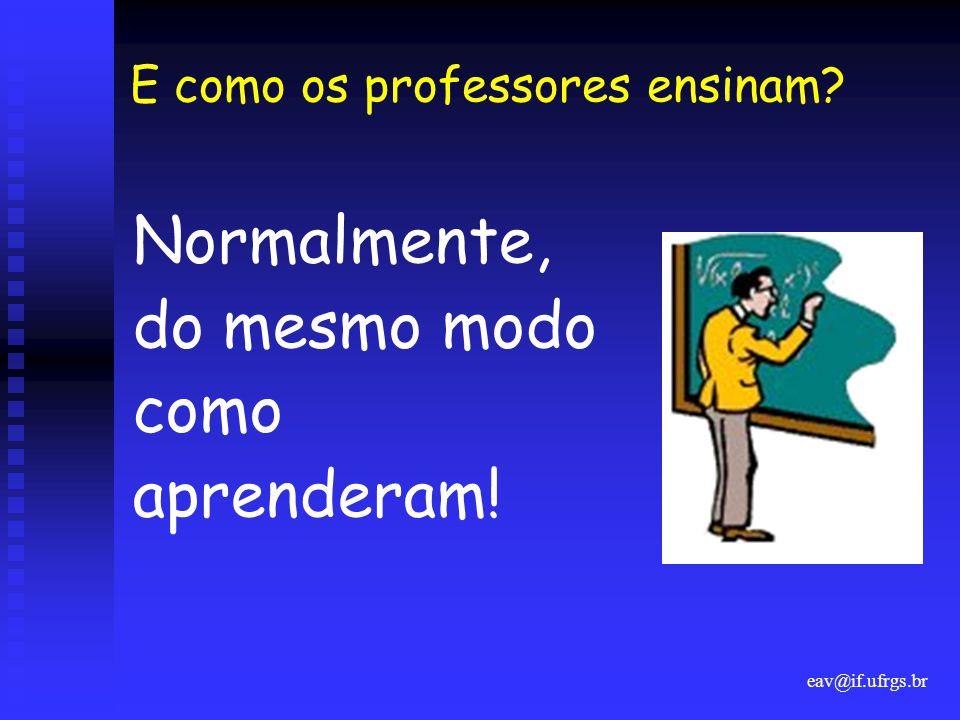 eav@if.ufrgs.br E como os professores ensinam? Normalmente, do mesmo modo como aprenderam!