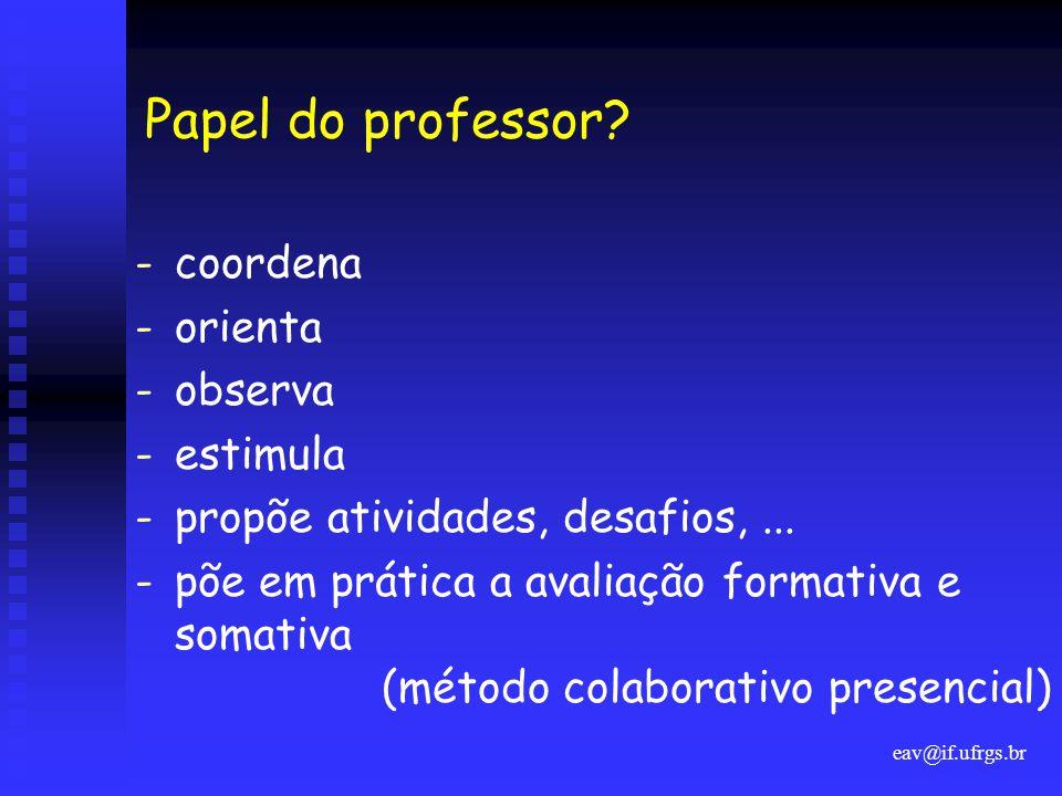 eav@if.ufrgs.br Papel do professor? -coordena -orienta -observa -estimula -propõe atividades, desafios,... -põe em prática a avaliação formativa e som