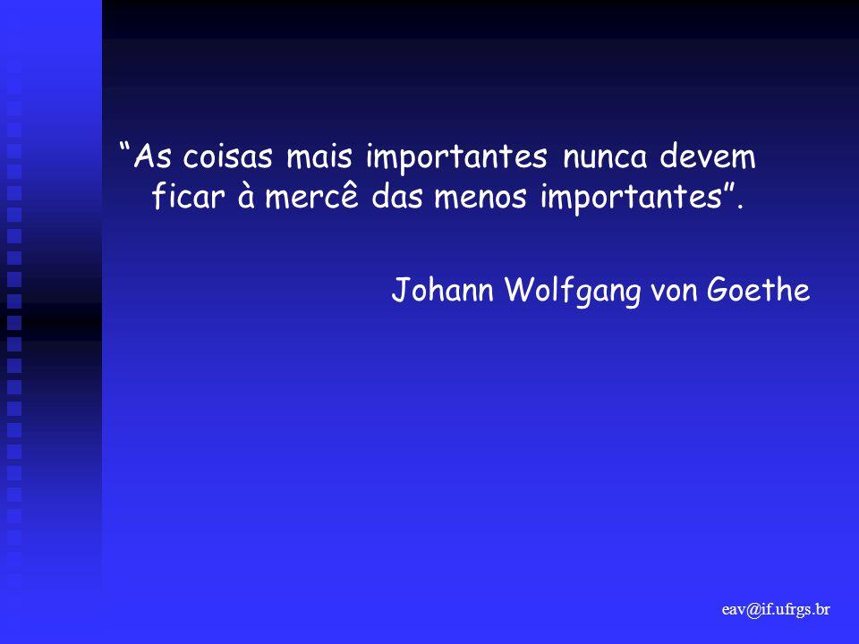 eav@if.ufrgs.br As coisas mais importantes nunca devem ficar à mercê das menos importantes .