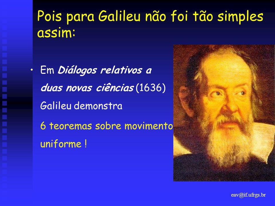 eav@if.ufrgs.br Pois para Galileu não foi tão simples assim: •Em Diálogos relativos a duas novas ciências (1636) Galileu demonstra 6 teoremas sobre mo