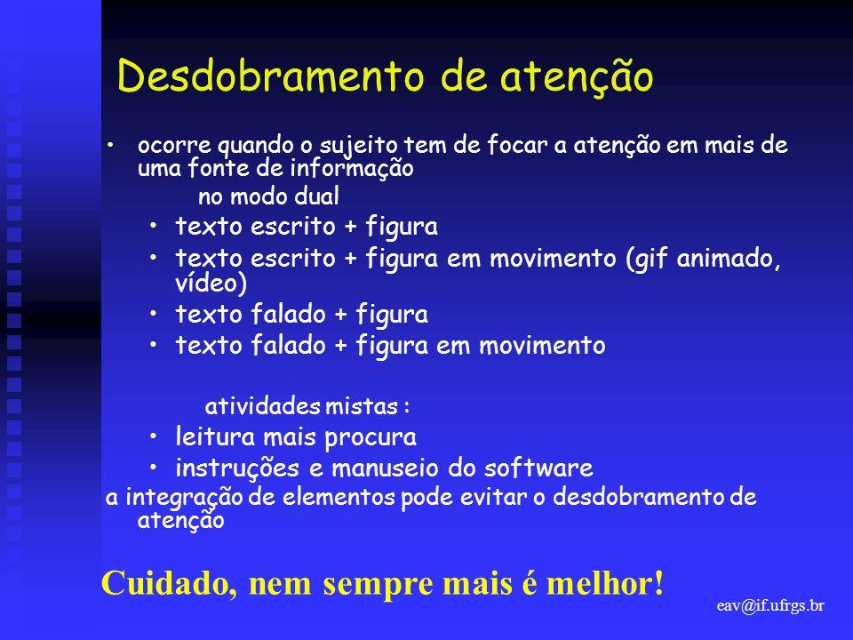 eav@if.ufrgs.br Desdobramento de atenção •ocorre quando o sujeito tem de focar a atenção em mais de uma fonte de informação no modo dual •texto escrit